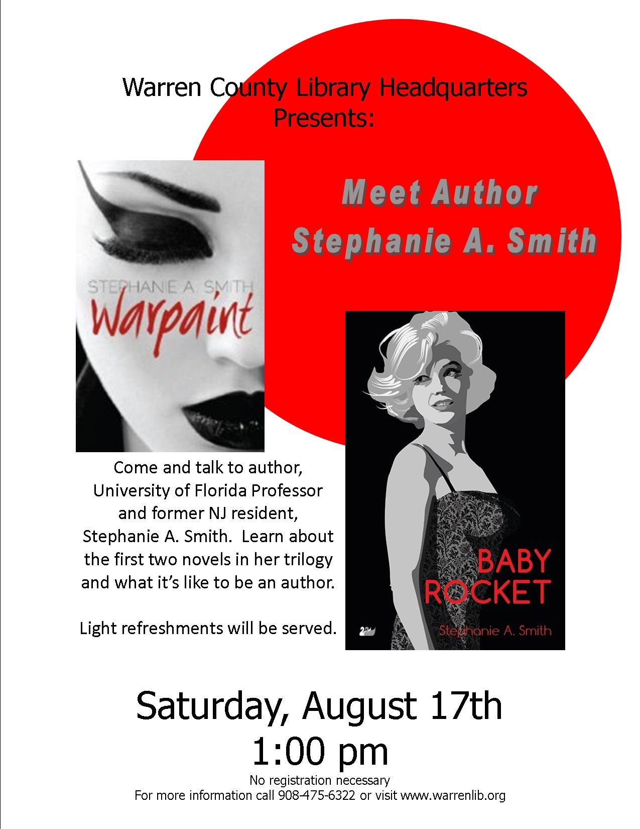 poster for upcoming reading Aug. 17 in NJ
