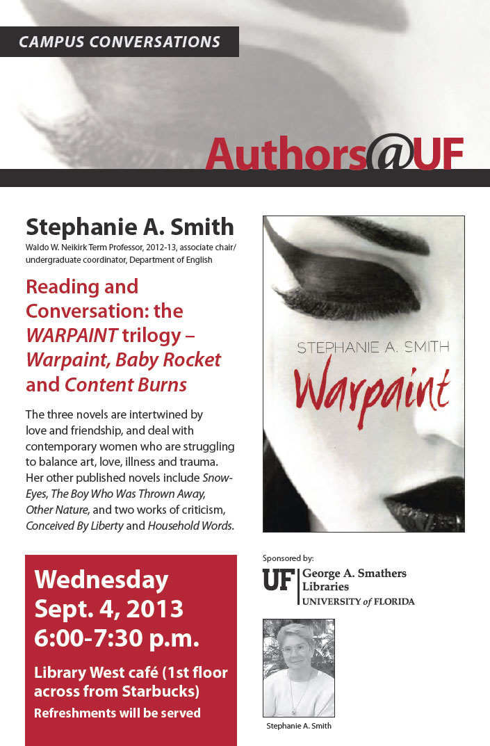 Stephanie A. Smith, author speaks at the Smathers Library Sept 4, 2013 poster